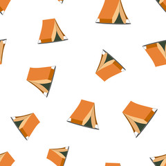 Camping tent seamless pattern. Business concept camping house pictogram. Vector illustration background.