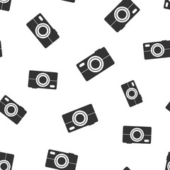 Camera icon seamless pattern background. Business flat vector illustration. Photography sign symbol pattern.