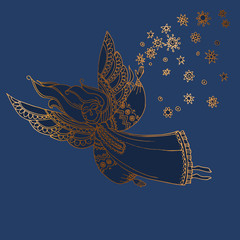 Luxury night blue and gold decorative girl angel