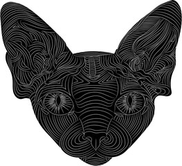 The stylized head of a Sphynx cat is an ethnic pattern