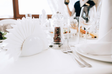 luxury decorated Table set with food for an event party or wedding reception