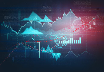 Abstract business chart with uptrend line graph, bar chart and diagram in bull market on dark blue background. Bright red light spot.