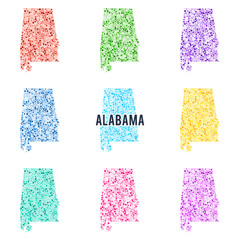 Vector colourful dotted map of the state of Alabama.