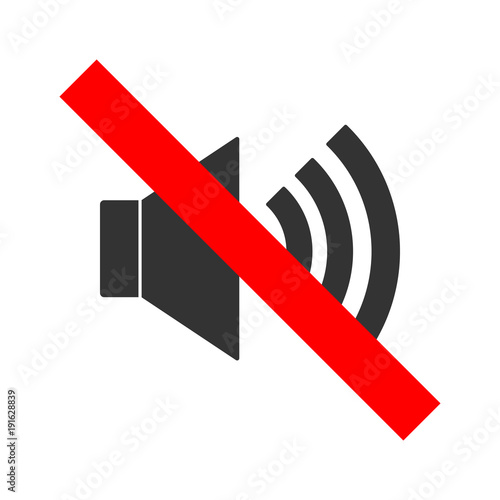 No Sound Crossed Out Sign Mute Icon Keep Silence Symbol Vector