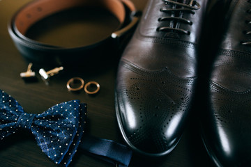 Wedding details. groom set. Men's accessories, shoes, rings