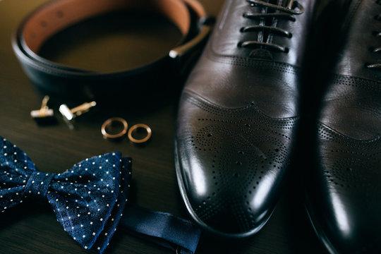 Wedding details. groom set. Men's accessories, shoes, rings
