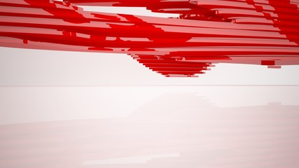 Abstract white and red parametric interior with window. 3D illustration and rendering.