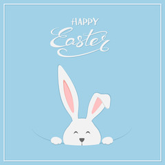 Easter rabbit on blue background