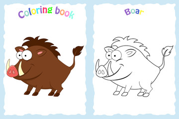 Coloring book page for preschool children with colorful  boar and sketch to color.  Children education. Preschool education.