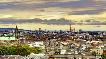 Fotobehang Londen Dublin, Republic of Ireland Aerial view of Dublin cityscape from Guinness Storehouse