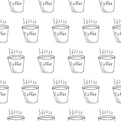 coffee cup seamless vector pattern