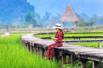 Wall Mural - Young woman sitting on wooden path with green rice field in Vang Vieng, Laos.
