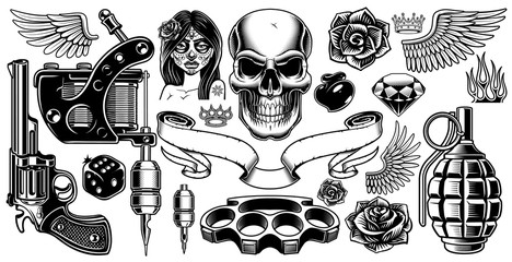 Set of tattoo art