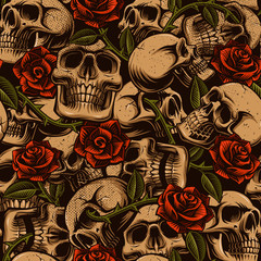 Skull with roses seamless pattern.