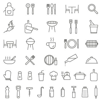 Restaurant, cooking, serving, kitchen, cutlery, tools line black icons. Collection of outline icons