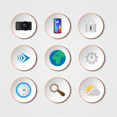 Set of colored realistic icons. Vector Icons for Applications.