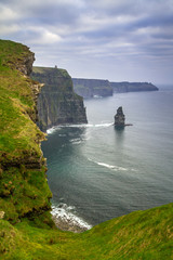 Fototapete - Cliffs of Moher in Ireland at cloudy day, Co. Clare