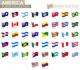 Waving flag icon, flags of America countries sorted alphabetically.