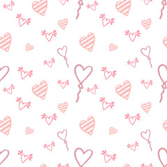 Seamless pattern made of hand drawn hearts. Pastel colors