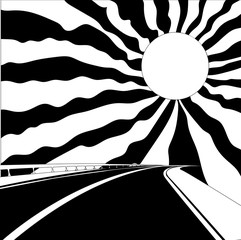 Road and sun. Vector illustration. Coloring book. Zentangle. Doodle. Black and white sample