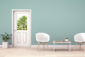 interior modern living room and green landscape in door. 3D rendering