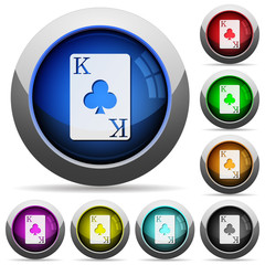 King of clubs card round glossy buttons