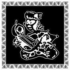 Ethnic musician (man) plays an ancient stringed instrument (kora, wine, berimbau, domra, dilruba). African and native American tribal music. Emblem sticker in Black and white hand draws vector