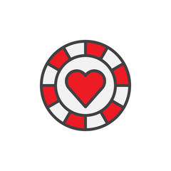 Pocker chip heart suit filled outline icon, line vector sign, linear colorful pictogram isolated on white. Casino money symbol, logo illustration. Pixel perfect vector graphics