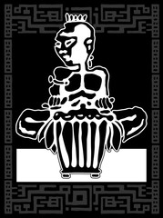 African drummer. Percussion players. Tribal bongo or djembe music. Sticker logo Black and white hand drawing in ethnic style. Vector illustration