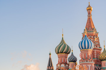 St Basils cathedral on Red Square in Moscow on sunset