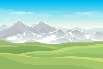 Fototapete - Vector landscape with green meadows or fields and mountains with snow in the background