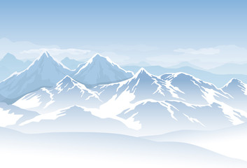 Fototapete - Vector blue cold misty mountains with snow and clouds in the sky