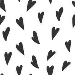 Seamless pattern made of black hearts