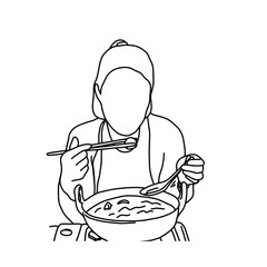 Cute woman eating noodles with chopsticks vector illustration sketch hand drawn with black lines, isolated on white background