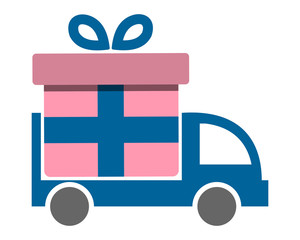 present gift boxcar transportation vehicle ride drive image vector icon