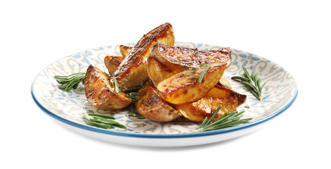 Plate with tasty potato wedges on white background