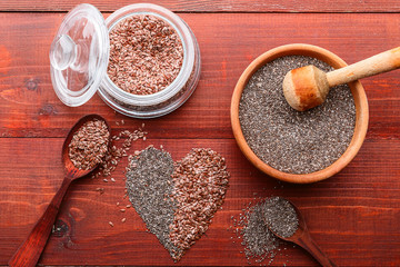chia and flax on a wooden background. concept of healthy food