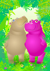 Hippos in the jungle. Color illustration of a pair of hippos in love.