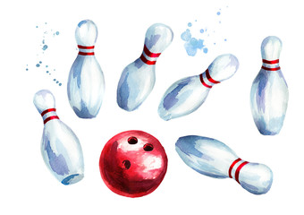 Bowling ball and pins set. Watercolor hand drawn illustration isolated on white background