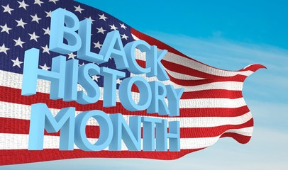 Black History Month over American flag