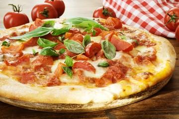 Italian Pizza Margherita with Mozzarella and Basil