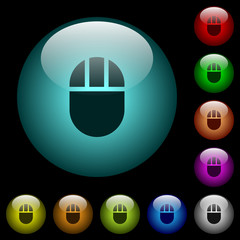 Three buttoned computer mouse icons in color illuminated glass buttons