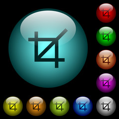 Crop tool icons in color illuminated glass buttons