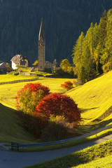 Autumnal landscape with a church
