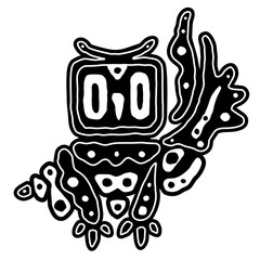 Vector decorative black and white owl. Hand drawing, zentangle art. Ethnic illustration for tattoo design,  poster and print, cute sticker element. Bohemian tribal style.