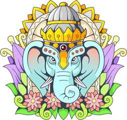 Indian god elephant Ganesha, illustration