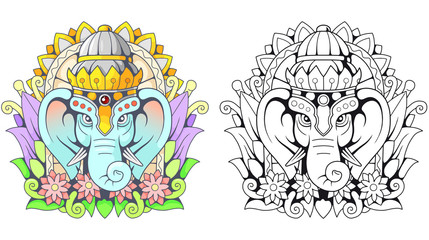Indian god elephant Ganesha, illustration