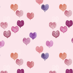 seamless pattern of colorful hand painted aqua color hearts can be used as background for valentine