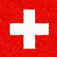 Illustration of a Swiss flag with a blossom pattern