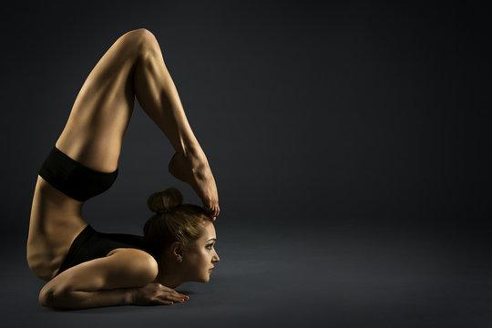 Yoga Backbend Gymnastics, Woman Acrobat in Back Bend Bherundasana Pose, Strong Girl Gymnast Flexible Body
